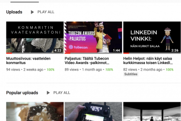 Kuvakaappauskuva Heli Järvenpään Youtube kanavan etusivusta