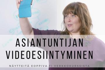 Heli Järvenpää kouluttamassa videoesiintymistä